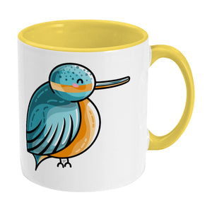 Turquoise and orange cute kingfisher design on a two toned yellow and white ceramic mug, showing RHS