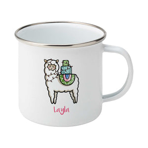 Kawaii cute white llama carrying a pile of presents design on a silver rimmed white enamel mug, showing RHS