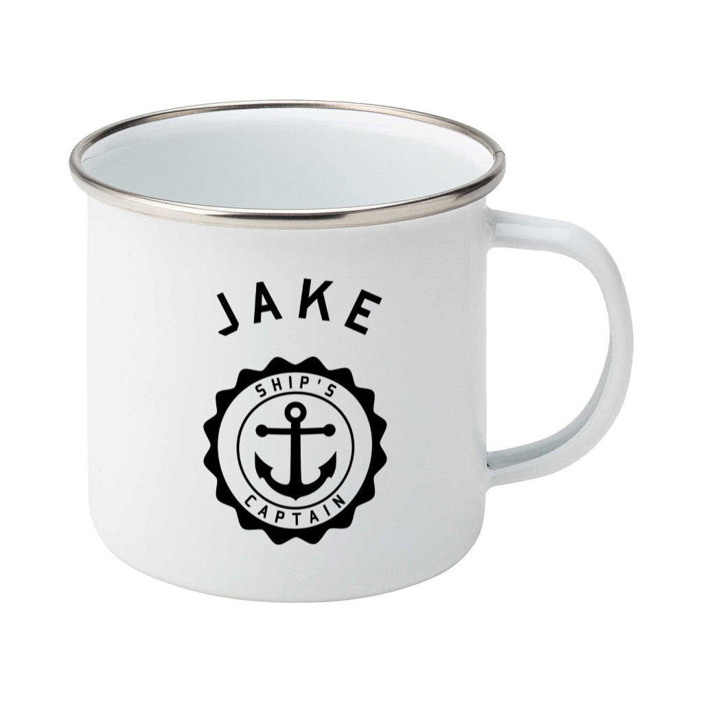 Ship's Captain Personalised Silver Rimmed Enamel Mug