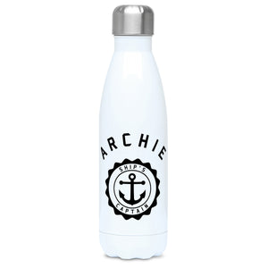 Personalised one colour circular design with a ship's anchor in the middle design on a white metal insulated drinks bottle, lid on