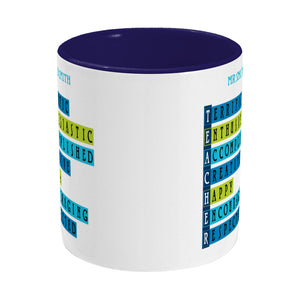 Words representing positive characteristics of teachers and personalised with a name on a two toned blue and white ceramic mug, side view
