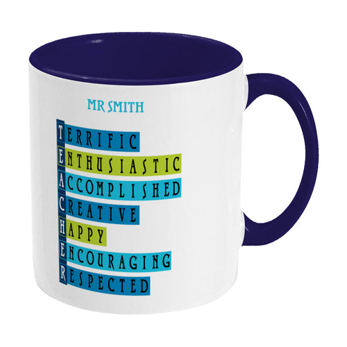 Words representing positive characteristics of teachers and personalised with a name on a two toned blue and white ceramic mug, showing RHS