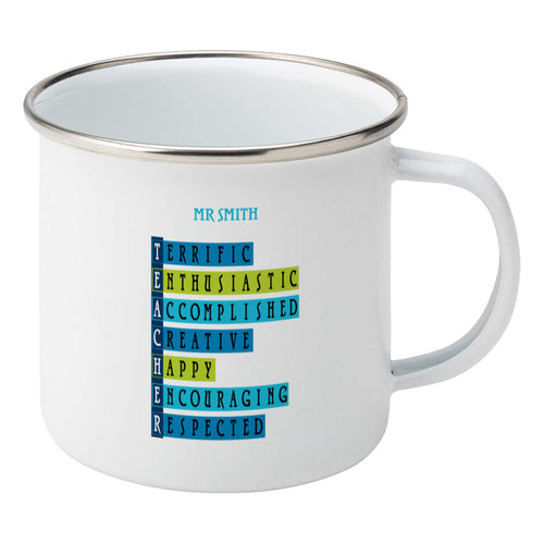 Words representing positive characteristics of teachers and personalised with a name on a silver rimmed white enamel mug, showing RHS