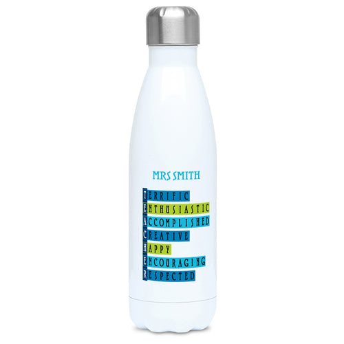 Words representing positive characteristics of teachers and personalised with a name on a white metal insulated drinks bottle, lid on