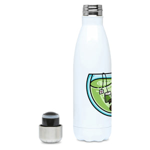 Cute platypus swimming in a glass teacup of green tea design on a white metal insulated drinks bottle, lid off
