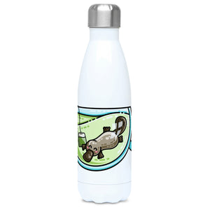 Cute platypus swimming in a glass teacup of green tea design on a white metal insulated drinks bottle, lid on