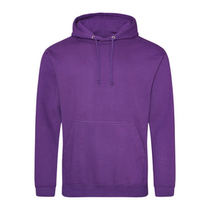 Picture of a purple colour AWDis college hoodie with neck cords and front pouch