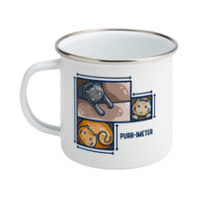Load image into Gallery viewer, A silver rimmed white enamel mug featuring three cute cats in adjoining cardboard boxes seen from directly above, with measurement lines around the edges and the word 'purr-imeter'.