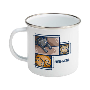 A silver rimmed white enamel mug featuring three cute cats in adjoining cardboard boxes seen from directly above, with measurement lines around the edges and the word 'purr-imeter'.