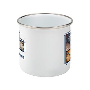A white silver rimmed enamel mug seen side on with the handle hidden behind and a portion of the design visible at each edge of the mug.