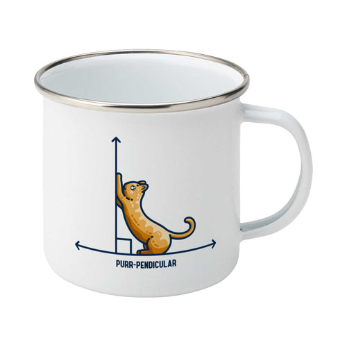 A white enamel mug with a silver rim, handle to the right. Features a design of a horizontal line intersected by a vertical line at a right angle. A cute ginger cat on the horizontal line is using the vertical line as a scratching post. The word purr-pendicular is written in capital letters beneath.