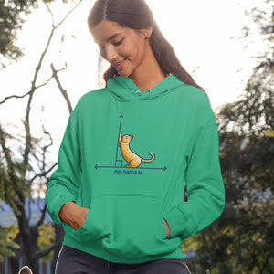 A woman wearing a green hoodie with their hands in the front pocket pouch. Features a design of a horizontal line intersected by a vertical line at a right angle. A cute ginger cat on the horizontal line is using the vertical line as a scratching post. The word purr-pendicular is written in capital letters beneath.