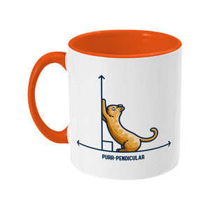 A white ceramic mug with an orange handle and inside, handle to the left. Features a design of a horizontal line intersected by a vertical line at a right angle. A cute ginger cat on the horizontal line is using the vertical line as a scratching post. The word purr-pendicular is written in capital letters beneath.