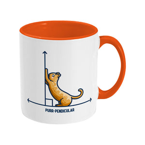 A white ceramic mug with an orange handle and inside, handle to the right. Features a design of a horizontal line intersected by a vertical line at a right angle. A cute ginger cat on the horizontal line is using the vertical line as a scratching post. The word purr-pendicular is written in capital letters beneath.