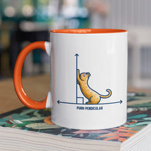 Load image into Gallery viewer, A white ceramic mug with an orange handle and inside, handle to the left. Features a design of a horizontal line intersected by a vertical line at a right angle. A cute ginger cat on the horizontal line is using the vertical line as a scratching post. The word purr-pendicular is written in capital letters beneath.