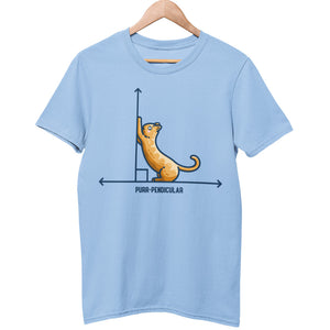 A light blue unisex crewneck t-shirt on a wooden hanger. Features a design of a horizontal line intersected by a vertical line at a right angle. A cute ginger cat on the horizontal line is using the vertical line as a scratching post. The word purr-pendicular is written in capital letters beneath.