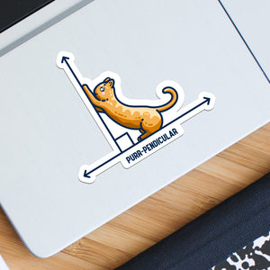 A white vinyl sticker featuring the design of a horizontal line intersected by a vertical line at a right angle. A cute ginger cat on the horizontal line is using the vertical line as a scratching post. The word purr-pendicular is written in capital letters beneath. The sticker is the shape of the design, forming a thick white border around it.