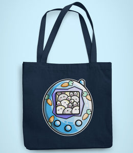 Cute rabbit and carrots blue tamagotchi design on a recycled cotton and polyester tote bag