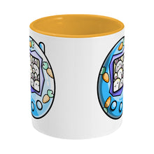 Load image into Gallery viewer, Cute blue rabbit and carrots tamagotchi design on a two toned yellow and white ceramic mug, side view