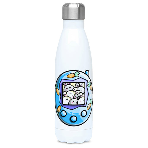 Kawaii cute rabbit and carrot blue tamagotchi design on a white metal insulated drinks bottle, lid on