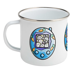 Cute rabbit and carrots blue tamagotchi design on a silver rimmed white enamel mug, showing LHS