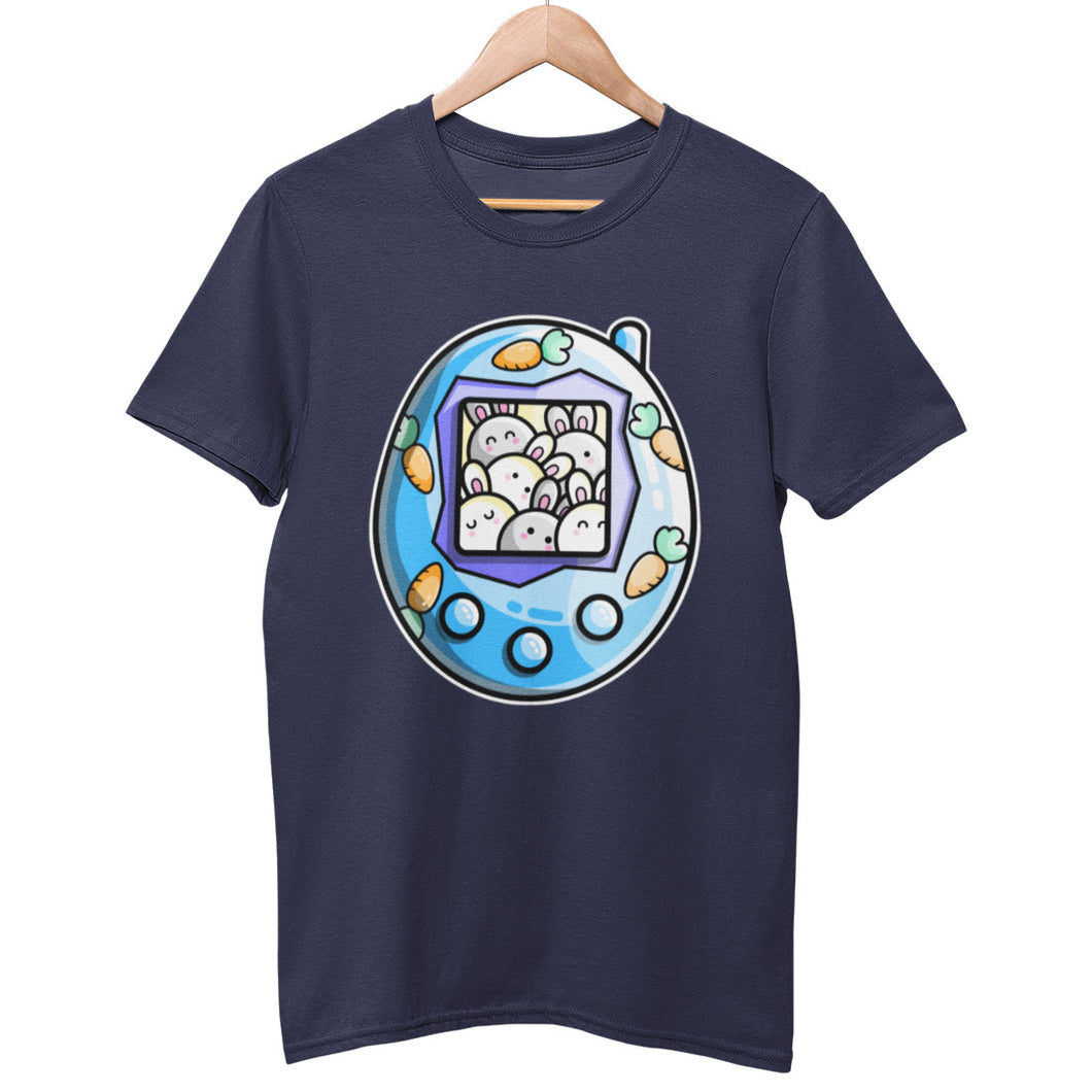 A dark navy blue unisex crewneck t-shirt on a hanger with a design on its chest of a blue tamagotchi decorated with carrots and with a crowd of cute white rabbits on its screen