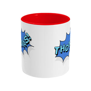 Personalised comic speech balloon design on a two toned red and white ceramic mug, side view