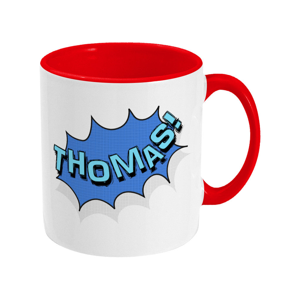Personalised comic speech balloon design on a two toned red and white ceramic mug, showing RHS