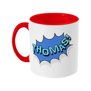 Personalised comic speech balloon design on a two toned red and white ceramic mug, showing LHS