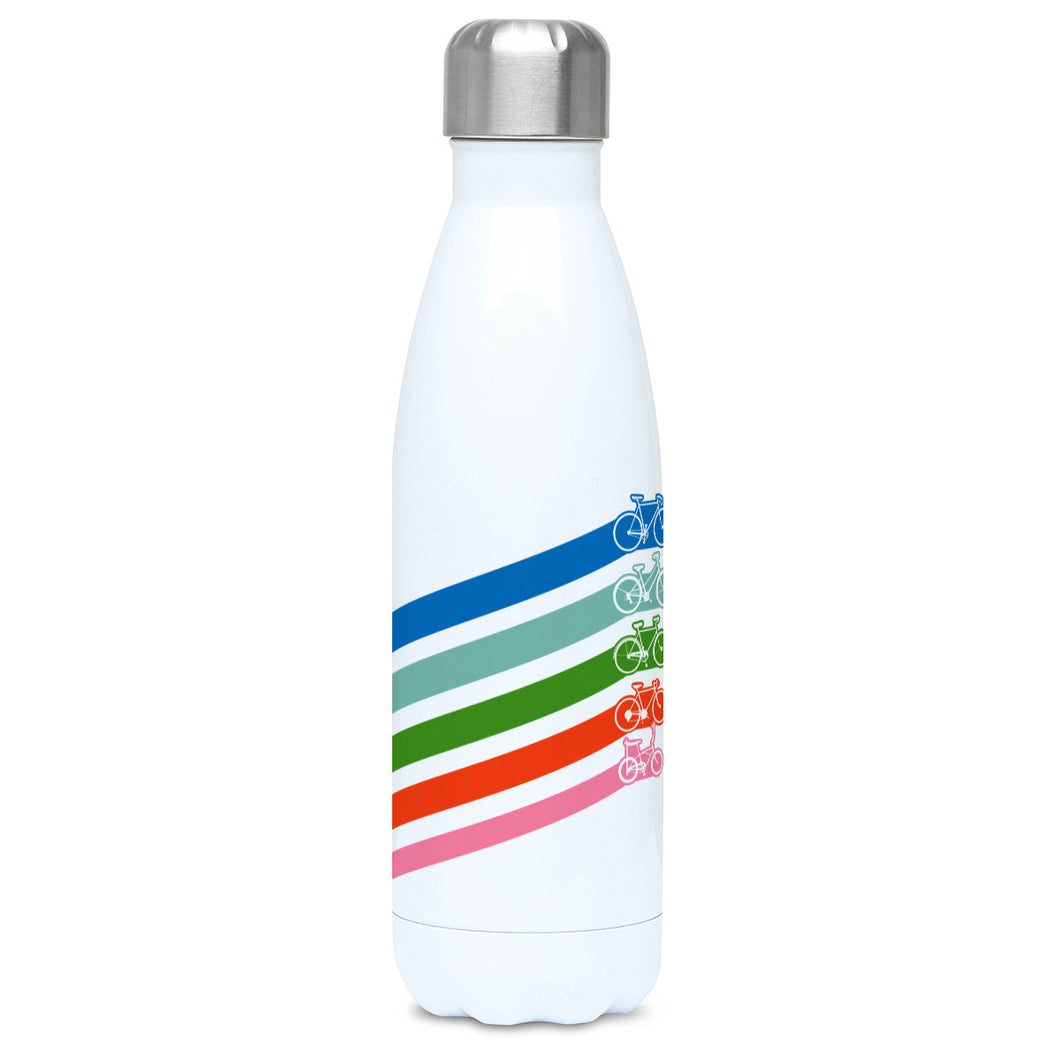 Five retro coloured diagonal stripes leading to different styles of bikes on a white metal insulated drinks bottle, lid on