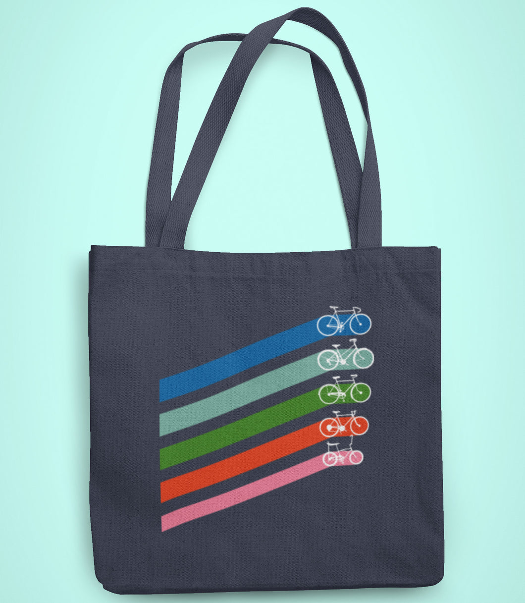 Five retro coloured diagonal stripes leading to different styles of bikes on a recycled cotton and polyester tote bag