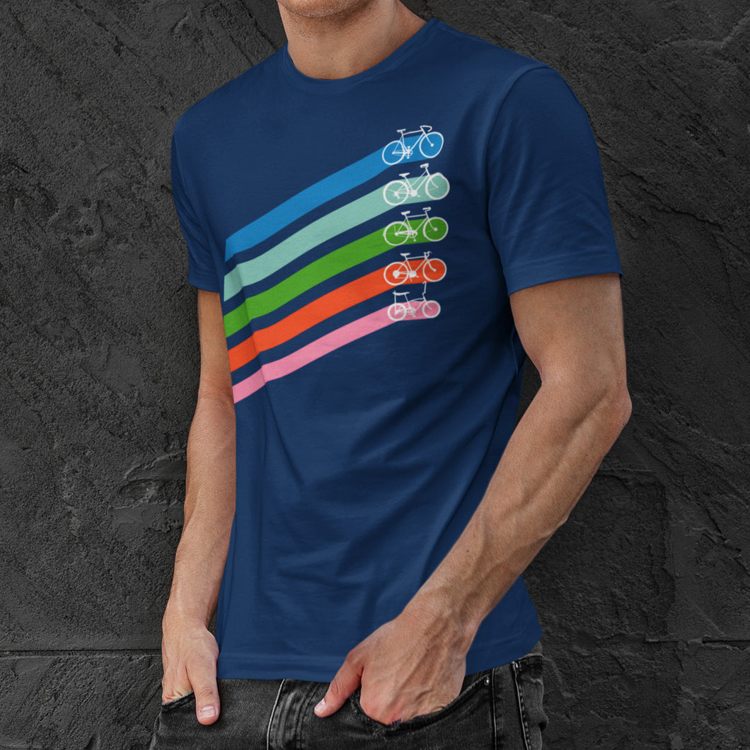Man wearing a navy cotton crewneck t-shirt of five retro coloured diagonal stripes leading to different styles of bikes