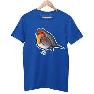 A blue unisex crewneck t-shirt on a hanger with a design on its chest of a kawaii cute robin bird with a red breast, bordered with a white line around the whole bird