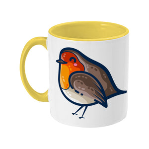 Two toned yellow and white ceramic mug featuring a robin bird facing to the left with the handle on the left