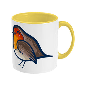 Two toned yellow and white ceramic mug featuring a robin bird facing to the left with the handle on the right