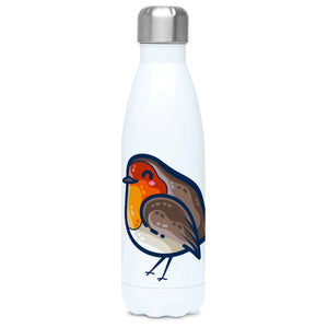 A tall white stainless steel drinks bottle seen from the front with its silver lid on and a design of a kawaii cute robin bird with red breast.