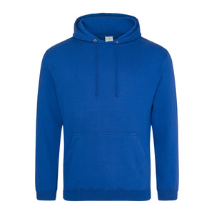 Picture of a royal blue colour AWDis college hoodie with neck cords and front pouch