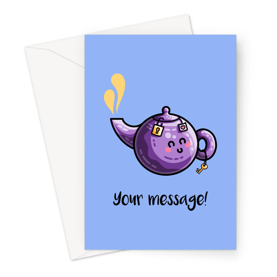 Personalised greeting card of a kawaii cute purple teapot on a blue background