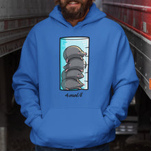 Load image into Gallery viewer, Torso of a man wearing a royal blue colour hoodie with his hands in the front pouch and the neck cords tucked in with a design on the chest of a glass measuring cylinder containing four kawaii cute mole animals in a pile on top of each other and the writing beneath in black saying the chemical term 4mol/l