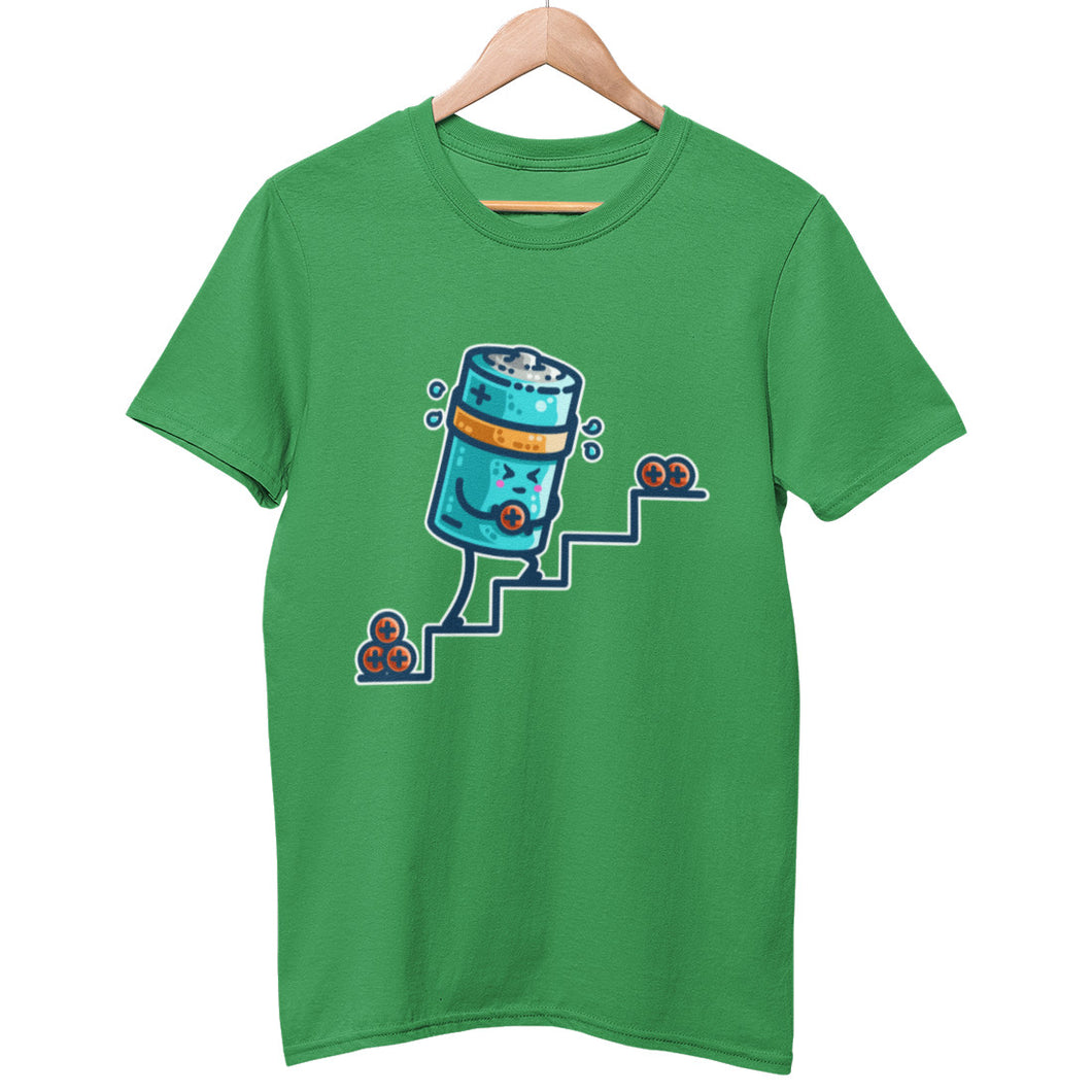 A green unisex crewneck t-shirt on a hanger with a design on its chest of a kawaii cute blue cylindrical battery wearing an orange sweatband, with a facial expression of effort, moving positive charge up steps.