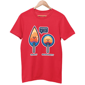 A red unisex organic cotton crewneck t-shirt on a hanger with a design of two cute flames, one pointed with the word gravity and one circular with the word microgravity and a speech bubble saying physics is lit