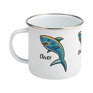 kawaii cute shark design on a silver rimmed white enamel mug, showing LHS