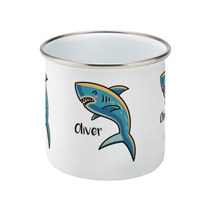 kawaii cute shark design on a silver rimmed white enamel mug, side view
