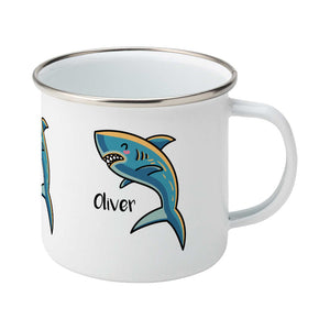 kawaii cute shark design on a silver rimmed white enamel mug, showing RHS