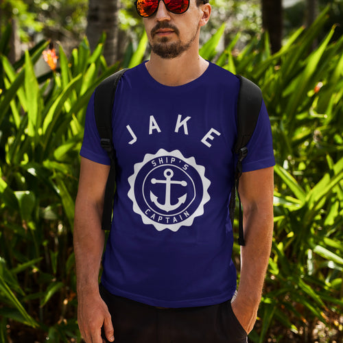 Man wearing ship's captain personalised crewneck t-shirt