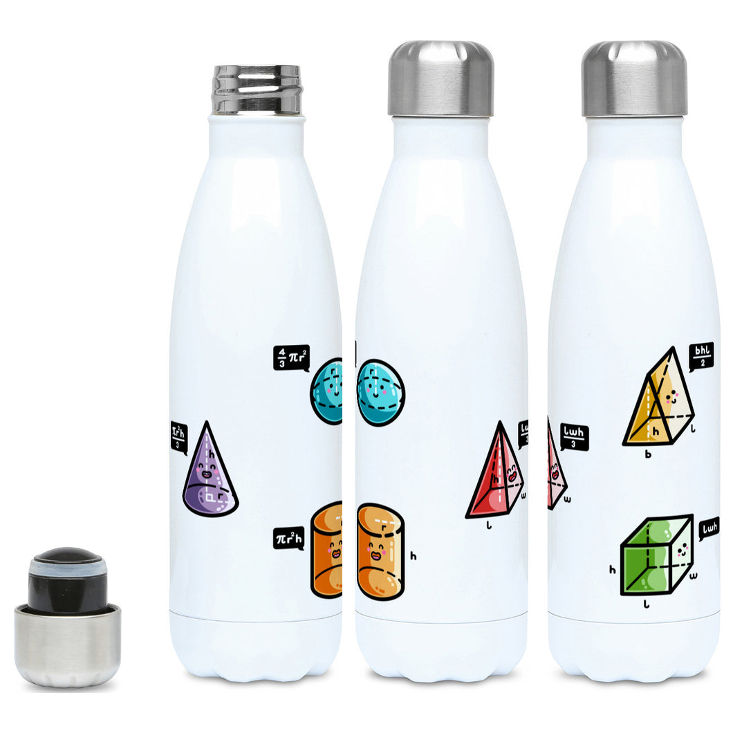 A tall white stainless steel drinks bottle, shown with lid on and off and from three angles. Colourful 3D shapes with faces and speech bubbles stating the equation for working out their volume are spaced around the bottle.