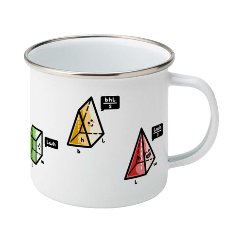 A silver rimmed white enamel mug with the handle to the right showing three colourful 3D shapes with faces and speech bubbles stating the equation for working out their volume