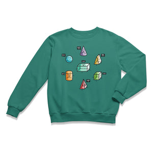A jade green sweatshirt lying flat with a design on its chest of colourful 3D shapes with faces and speech bubbles stating the equation for working out their volume.