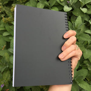 A spiral notebook held in a hand showing the black back cover.