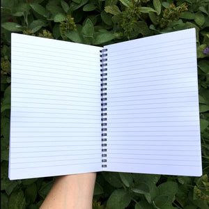 Shows a hand holding an open spiral bound notebook with lined white pages